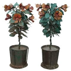 Pair of Brutalist Industrial Mid-Century Modern Iron Planter Table Sculptures