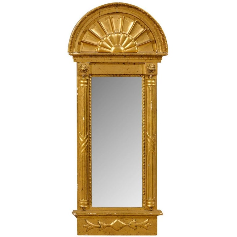 Swedish Gilded Mirror, circa 1820 with Arched Crest and Flanking Half Columns For Sale