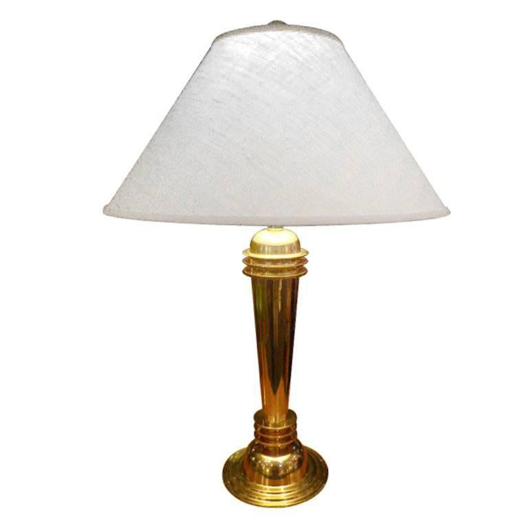Great Machine Age Deco Style Brass Table Lamp