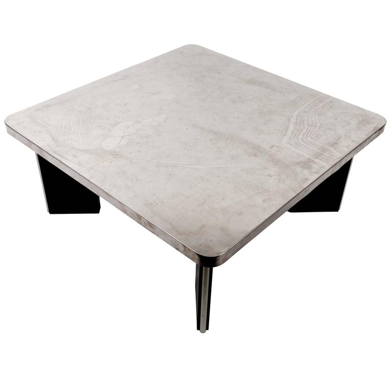 Modernist Aluminum Cocktail Table with Etched Design, on Black Wooden Base 1
