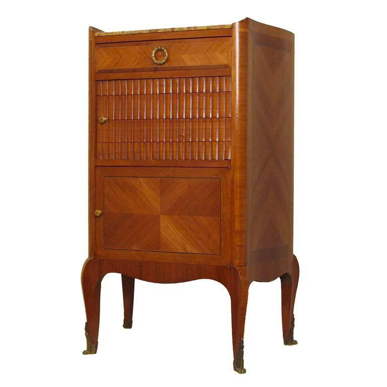 French Mahogany and Tulipwood Side Cabinet Table with Marble Top For Sale
