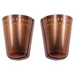 Important Modernist Pair of Oxidized Brass Sconces, France, 1950s