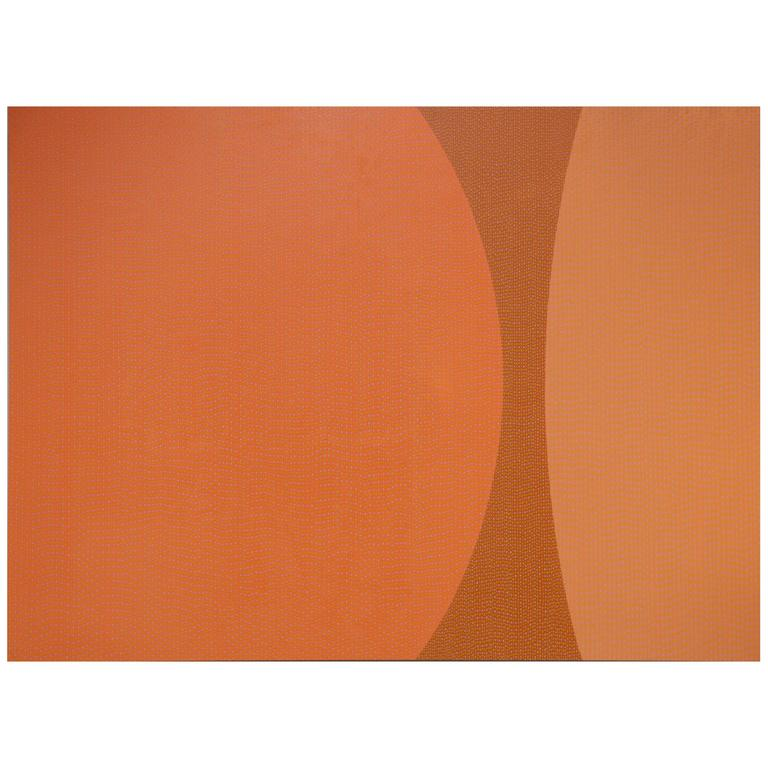 Pointillism Orange Enamel Painting on Aluminum Sheet by James Goodwill For Sale