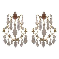 Pair of Rococo Brass and Crystal Sconces