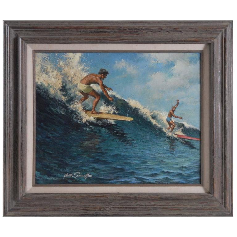 Arthur Sarnoff Oil On Board Riding The Crest Surfing Painting