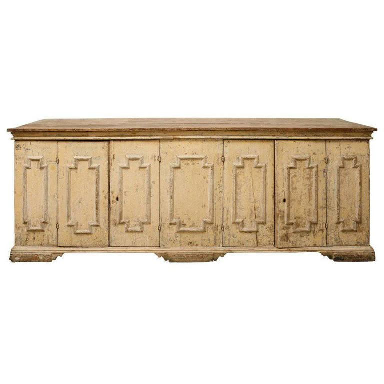 18th Century Italian Cream Painted Wood Enfilade Buffet
