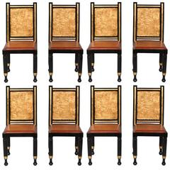 Set of Eight Gilt and Painted Egyptian Inspired Dining Chairs