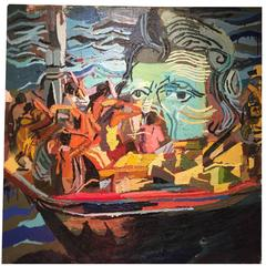 Somali Pirates with Jackson Oil Painting by New York Artist Clintel Steed, 2014