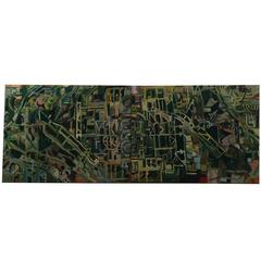Aerial View Diptych Oil Painting by New York City Artist Clintel Steed, 2010
