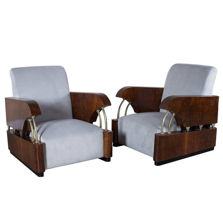 """Pair of Vintage French Art Deco Period """"Normandie"""" Armchairs, circa 1930"""