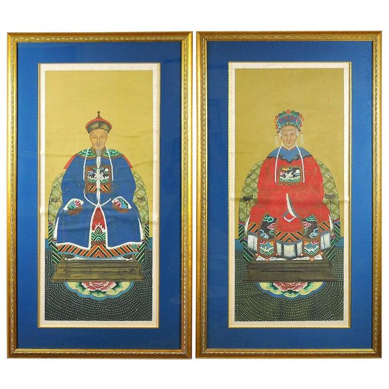 Pair of China Trade Ancestor Portraits 1