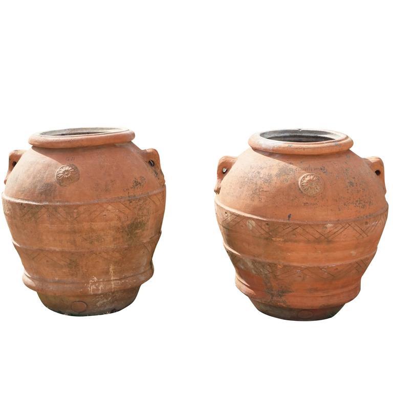 Mid-19th Century Tuscan Terra Cotta Clay Pots Jars