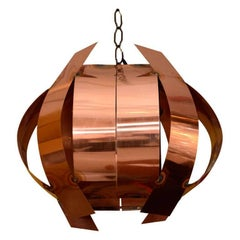 Sculptural Modernist Copper Pendant