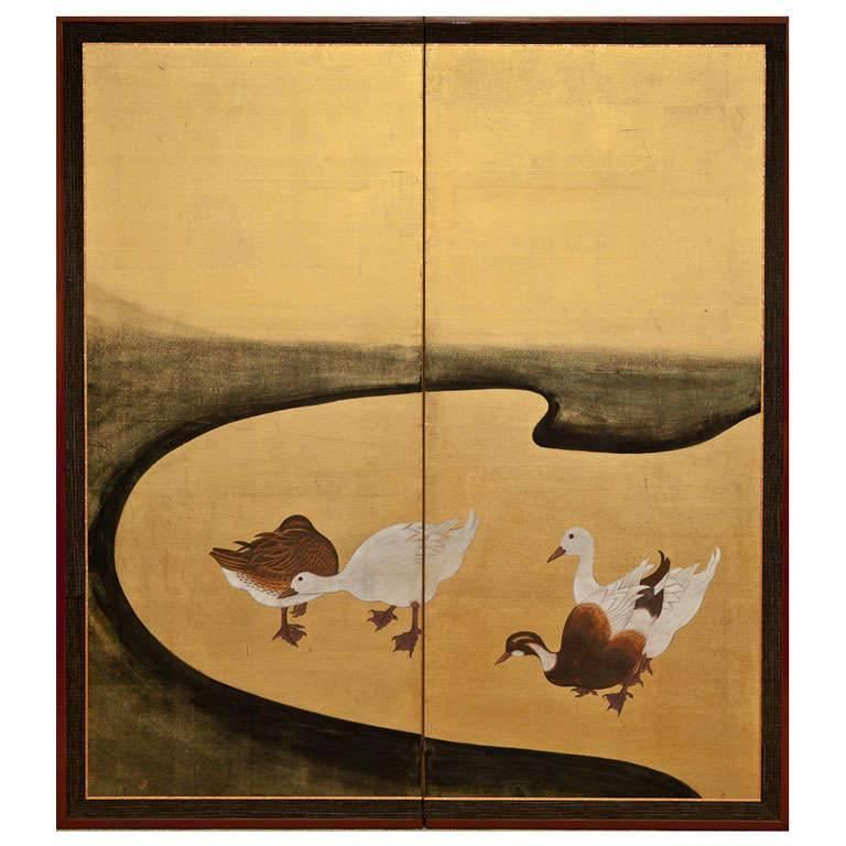 Japanese Screen Waterfowl by River's Edge For Sale