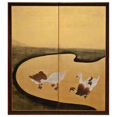 Japanese Screen Waterfowl by River's Edge