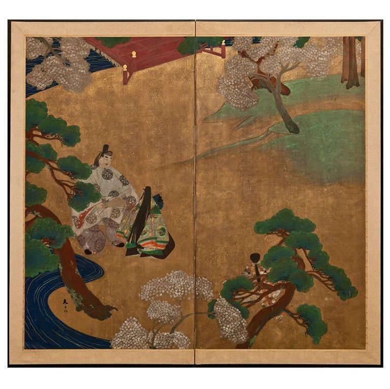 Japanese Screen Scenes from the Tales of Genji