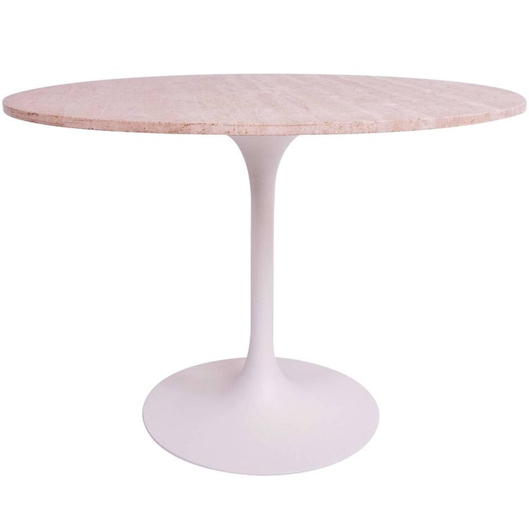 Tulip Dining Table, Aluminum Base with Travertine Top