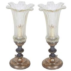 Pair of Hollywood Regency Candlestick Lamps with Floral Glass Hurricane Shades
