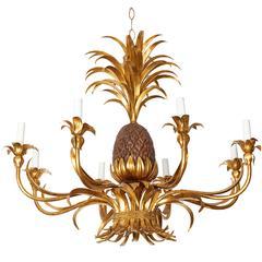Hollywood Regency Gilt Tole Pineapple Eight-Arm Chandelier