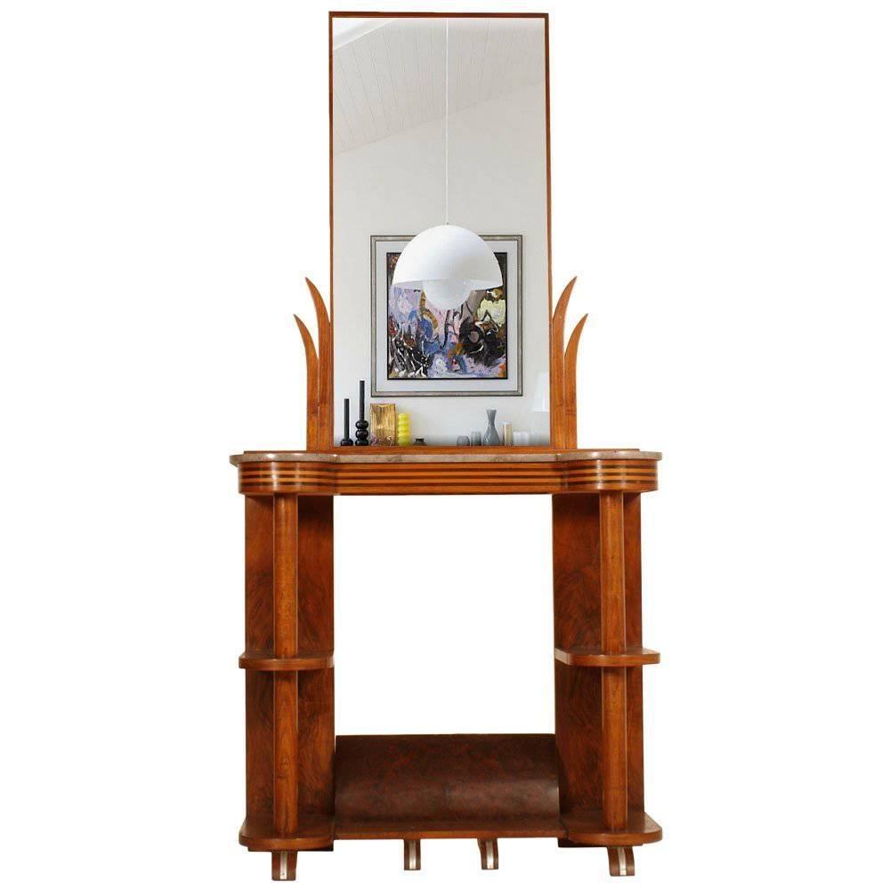1930s Console with Mirror Futurism Art Deco by Quirino De Giorgio Walnut Marble