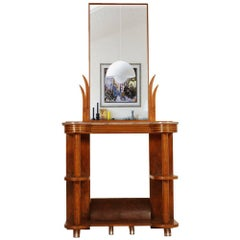 1930s Console with Mirror Futurism Art Deco by Quirino De Giorgio Walnut Marble