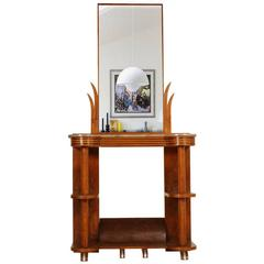 1930s Antique Italian Art Deco Console in Burl Walnut with Mirror and Marble Top