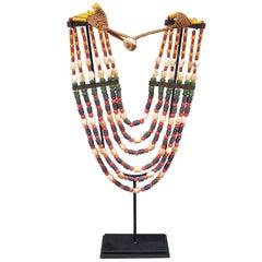 Vintage Naga Tribal Beaded Necklace on Custom-Made Display Stand