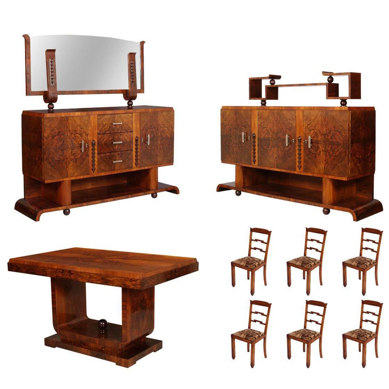 1930s Art Deco Dining Room Set, table, chairs & sideboards, by Osvaldo Borsani