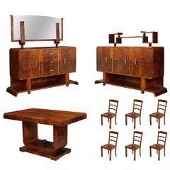 1930s Italian Art Deco Dining Room Suite Set Osvaldo Borsani In Burl Walnut