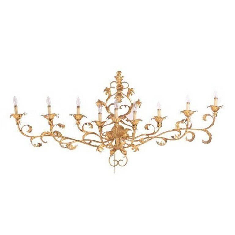 Monumental Italian Gilded Mid Century Nine-Arm Regency Lighted Sconce 5ft For Sale