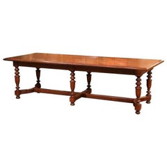 19th Century, French Carved Chestnut and Oak Six-Leg Farm Table with Parquet Top