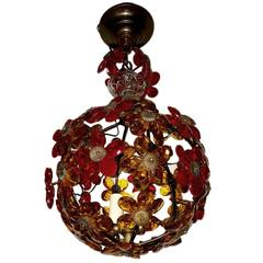 Gilt Metal Light Fixture with Crystal Flowers