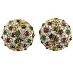 Picchiotti Diamond Emerald Sapphire and Ruby Domed Earrings