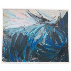 French 1960s Abstract Oil Painting