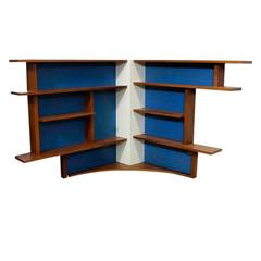 Large Mid-Century Wood and Blue Italian Bookshelf, 1950s-1970s