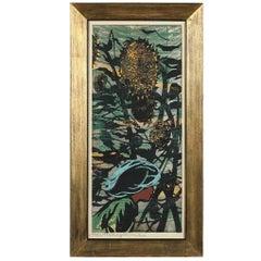 Tadashi Nakayama Large Japanese Woodblock Print the Girl in Sunflower Field