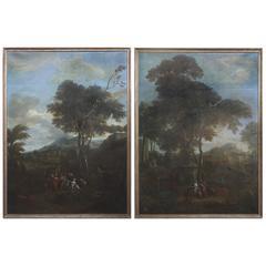 Large Pair of Flemish Paintings by Phillipe De Hondt '1683-1741'