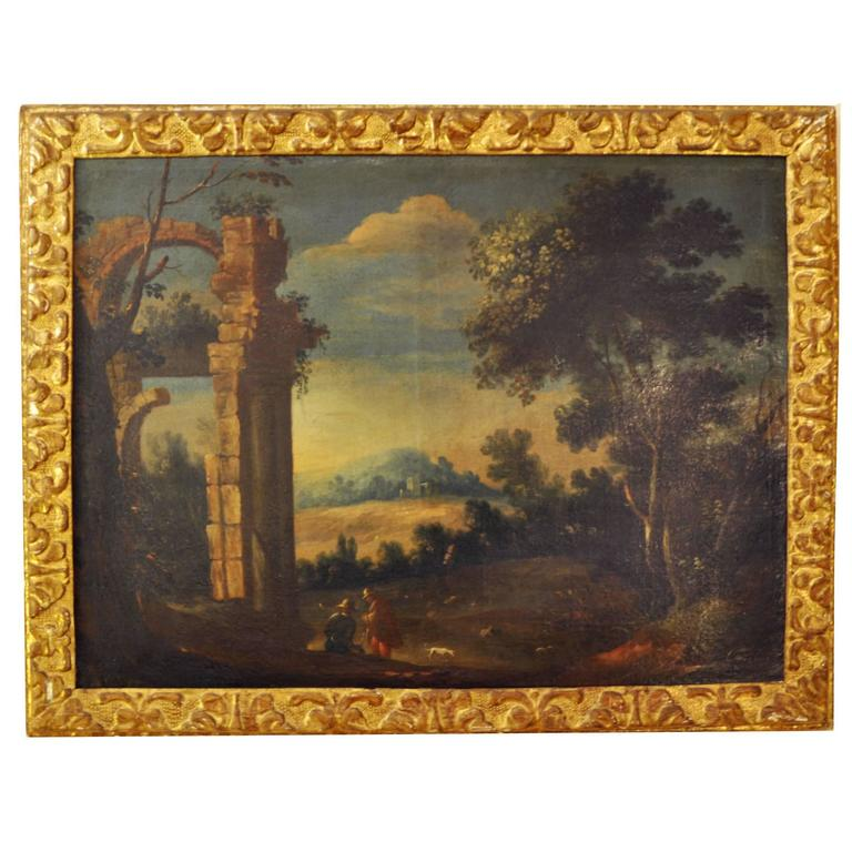 Pair of roman school landscape paintings 18th century for for Garden design 18th century