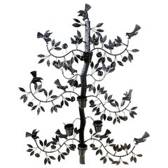 Mexican Black Wrought Iron Tree of Life Wall Planter