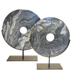 Set of Two Grey and White Smooth Disc Sculptures, Contemporary, China