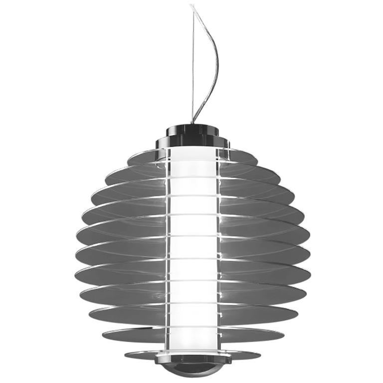 Gio Ponti Fontana Arte 0024 Suspension Lamp in Glass and Brass, Designed in 1932 For Sale