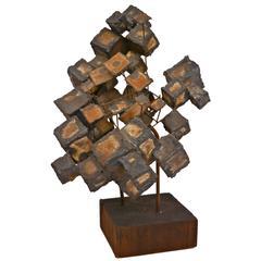 Brutalist Floating Cube Sculpture