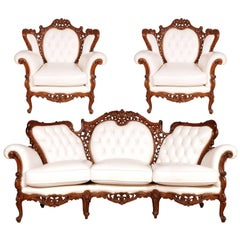 Venetian Rococo Seating set hand-carved walnut restored and leather upholstered