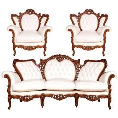 Early 20th C. Venetian Settee, Sofa & Armchairs Rococo Baroque, walnut, leather