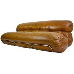 Sculptural Italian Leather Sofa