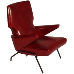Italian  Armchair Dark Red leather Svend Skipper style Papa Bear