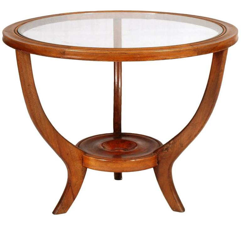 1940s Mid Century Modern Coffee Table In Walnut With Glass Top At 1stdibs
