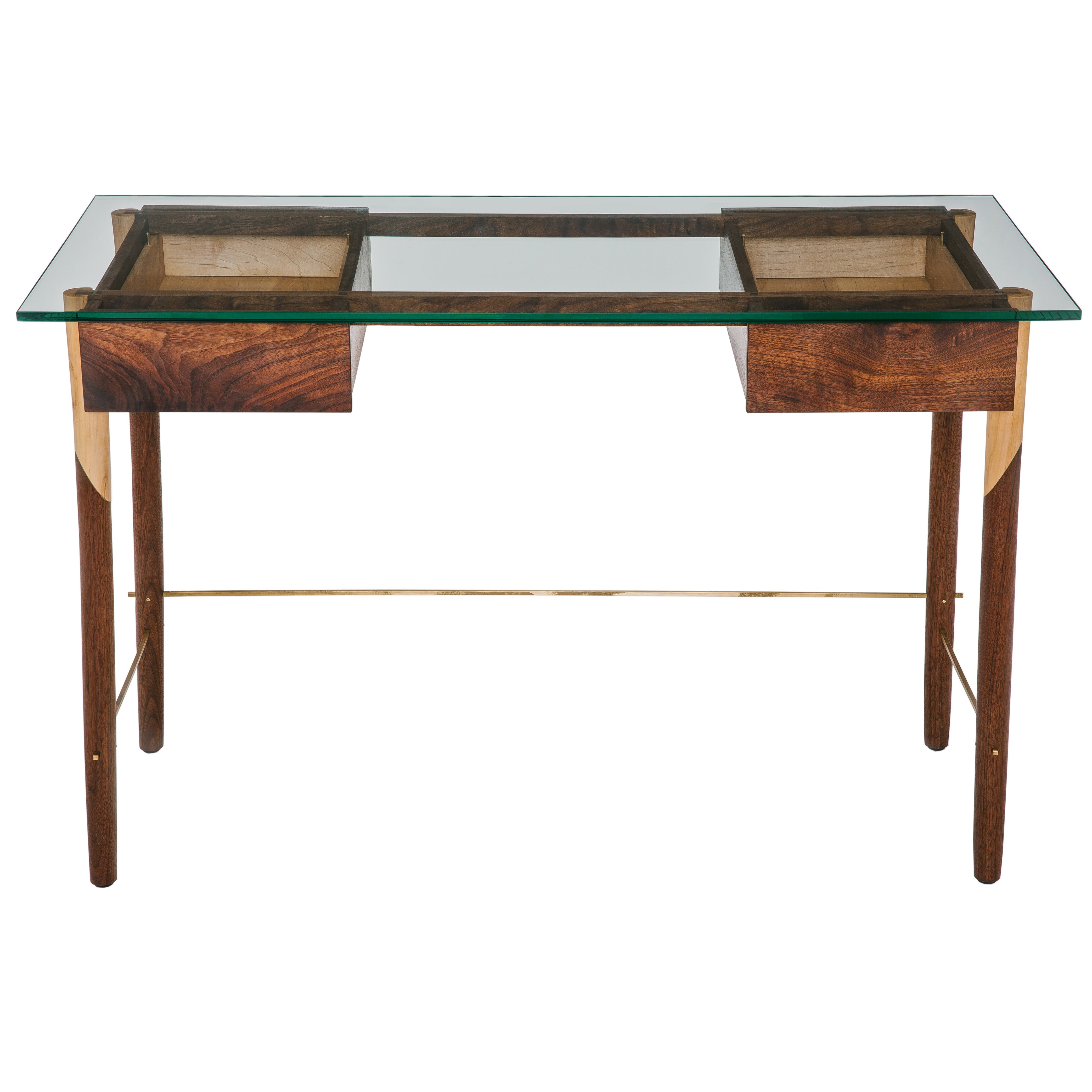 Writing Desk with Walnut, Maple, Brass and Glass Top