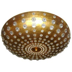 Gilt Metal Semi Flush Light Fixture with Crystals