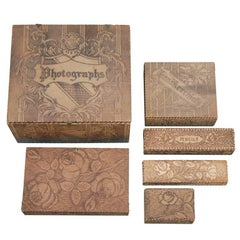 Six-Piece Stationary Set with Pyrography Decoration